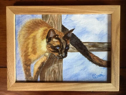 Pet Portrait of Siamese Cat rubbing on a post. by Susie Caron