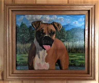 Pet Portrait of a Fawn Colored Boxer Dog by Susie Caron