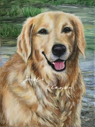 Painting of a Golden Retriever by Susie Caron (c) 2018