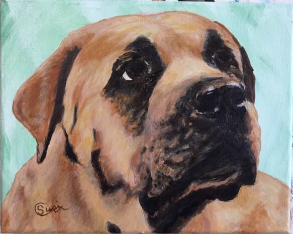 Acrylic Painting of  Mastiff Dog for LB, by Susie Caron. (c) 2018