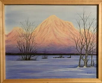 Framed Acrylic Painting of a Mountain & dogsled team out for an early morning run.